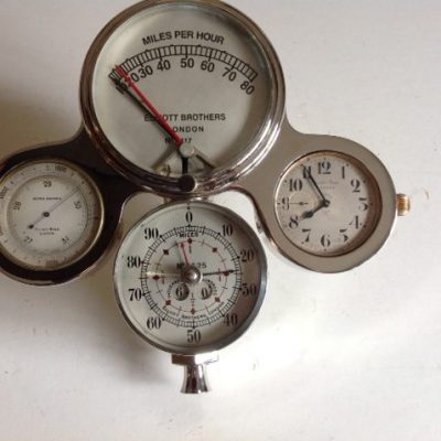 Elliott Brothers Speedometer With Motor Anaroid & Time Piece